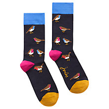 Buy Joules Brill Bamboo Robin Print Ankle Socks, Pack of 1, Navy/Multi Online at johnlewis.com