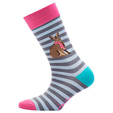 Buy Joules Brill Bamboo Rabbit Stripe Ankle Socks, Pack of 1, Grey/Multi Online at johnlewis.com