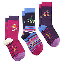 Buy Joules Brill Bamboo Christmas Print Ankle Socks, Pack of 3, Purple/Multi Online at johnlewis.com