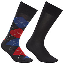 Buy Polo Ralph Lauren Argyle and Plain Socks, Pack of 2, One Size, Charcoal Online at johnlewis.com
