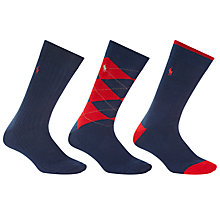 Buy Polo Ralph Lauren Argyle and Plain Socks, Pack of 3, One Size Online at johnlewis.com