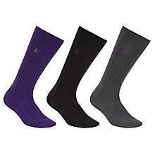 Buy Polo Ralph Lauren Ribbed Cotton Socks, One Size, Pack of 3, Purple/Black/Grey Online at johnlewis.com