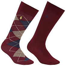 Buy Polo Ralph Lauren Argyle and Plain Socks, Pack of 2, One Size, Wine Online at johnlewis.com