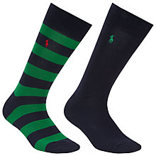 Buy Polo Ralph Lauren Rugby Stripe Socks, One Size, Pack of 2, Green/Navy Online at johnlewis.com