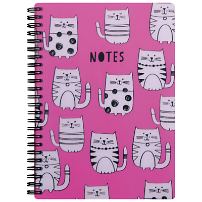 Go Stationery Cats A5 Notebook, Pink.
