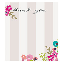 Buy Caroline Gardner Thank You Ditsy Floral and Stripes Notecards, Pack of 8 Online at johnlewis.com