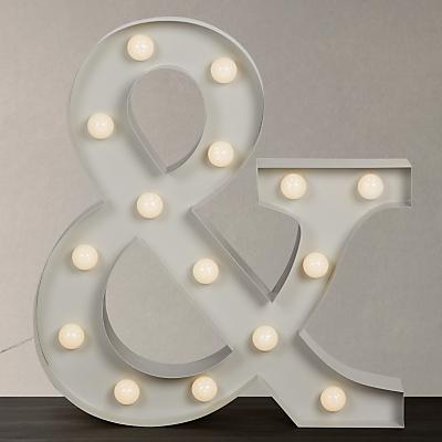 John Lewis Large LED Ampersand '&' Lit Sign, Grey