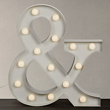 Buy John Lewis Large LED Ampersand '&' Lit Sign, H80cm, Grey Online at johnlewis.com
