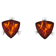 Buy Be-Jewelled Sterling Silver Cognac Baltic Amber Triangular Stud Earrings, Amber Online at johnlewis.com