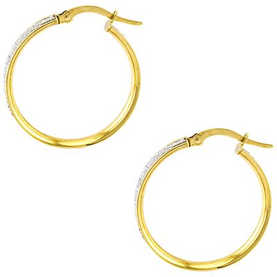 A B Davis Aurium Sparkle Collection 9ct Gold Faux Pave Large Hoop Earrings, Gold