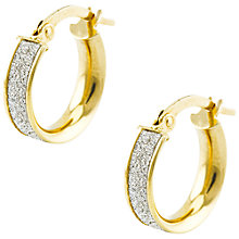 Buy Aurium Sparkle Collection from A B Davis 9ct Gold Faux Pave Small Hoop Earrings Online at johnlewis.com