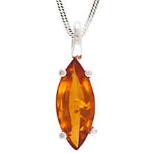 Buy Be-Jewelled Sterling Silver Cognac Amber Pendant Necklace, Amber Online at johnlewis.com