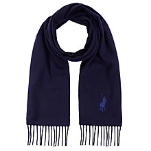 Buy Polo Ralph Lauren Big Pony Wool Scarf, Navy Online at johnlewis.com
