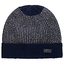 Buy Gant Lambswool Ribbed Fisherman Beanie, Blue Online at johnlewis.com