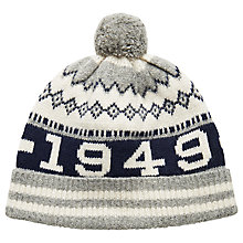Buy Gant Jacquard Logo Lambswool Beanie, Grey Online at johnlewis.com