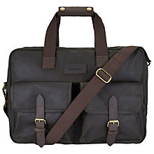Buy Barbour Duxford 24 Hour Waxed Cotton Messenger Bag, Olive Online at johnlewis.com