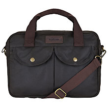 Buy Barbour Longthorpe Waxed Cotton Messenger Bag, Olive Online at johnlewis.com