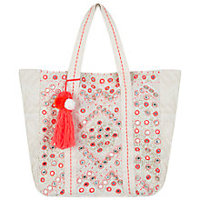 Buy Miss Selfridge Mirror Embellished Tote Bag, Cream Online at johnlewis.com