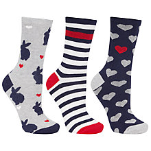 Buy John Lewis Rabbit Heart Ankle Socks, Pack of 3, Multi Online at johnlewis.com