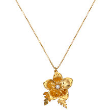 Buy Alex Monroe 22ct Gold Vermeil Hellebore Christmas Rose Necklace, Gold Online at johnlewis.com