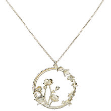 Buy Alex Monroe Sterling Silver Round Cameo Buttercup Sprig and Climbing Ivy Necklace, Silver Online at johnlewis.com