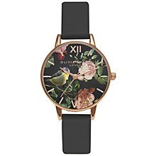 Buy Olivia Burton OB15WL53 Women's Woodland Bird Leather Strap Watch, Black Online at johnlewis.com