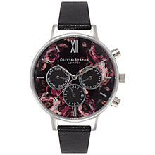 Buy Olivia Burton OB15PP06 Women's Painterly Prints Leather Strap Watch, Black Floral/Rose Gold Online at johnlewis.com