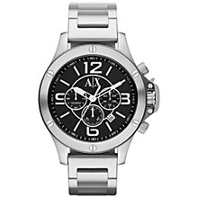 Buy Armani Exchange AX1501 Men's Stainless Steel Bracelet Strap Watch, Silver/Black Online at johnlewis.com