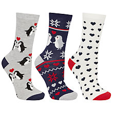 Buy John Lewis Cotton Mix Kissing Penguins Socks, Pack of 3, Multi Online at johnlewis.com
