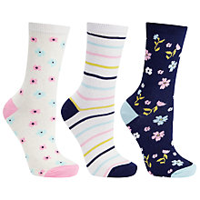 Buy John Lewis Floral Stripe Ankle Socks, Pack of 3, Multi Online at johnlewis.com