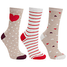 Buy John Lewis Cotton Mix Big Heart Stripe Socks, Pack of 3, Multi Online at johnlewis.com