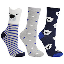 Buy John Lewis Cotton Mix Polar Bear Socks, Pack of 3, Multi Online at johnlewis.com