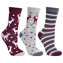 Buy John Lewis Cotton Mix Stag Socks, Pack of 3, Multi Online at johnlewis.com