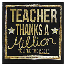 Buy Hammond Gower Teacher Greeting Card, Black and Gold Online at johnlewis.com