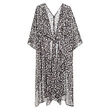 Buy Mango Floral Print Kaftan, Black Online at johnlewis.com