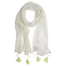Buy Mint Velvet Embroidered Scarf, Ivory / Lime Online at johnlewis.com