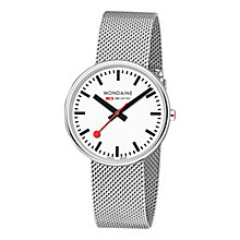 Buy Mondaine A7633036211SBB Unisex Stainless Steel Bracelet Strap Watch, Silver/White Online at johnlewis.com