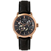 Buy Rotary LE90540/04 Les Originales Jura Rose Gold Plated Leather Strap Watch, Black Online at johnlewis.com