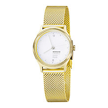 Buy Mondaine MH1L1111SM Unisex Helvetica No1 Light Bracelet Strap Watch, Gold/White Online at johnlewis.com