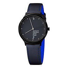 Buy Mondaine MH1l2222LB Unisex Helvetica No1 Light Leather Strap Watch, Black Online at johnlewis.com