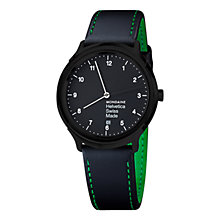 Buy Mondaine MH1R2221LB Unisex Helvetica No 1 Regular Leather Strap Watch, Black Online at johnlewis.com