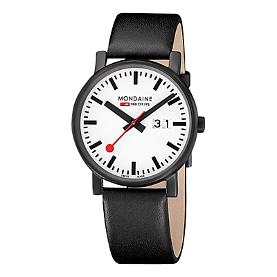 Mondaine A6273030361SBB Unisex Big Date Leather Strap Watch, Black/White