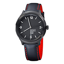 Buy Mondaine MH1B1221LB Unisex Helvetica No 1 Bold Leather Strap Watch, Black Online at johnlewis.com