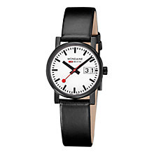 Buy Mondaine A6273030561SBB Unisex Leather Strap Watch, Black/White Online at johnlewis.com