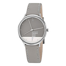 Buy Mondaine MH1L2280LH Unisex Helvetica No 1 Light Graphic Edition Leather Strap Watch, Grey/White Online at johnlewis.com