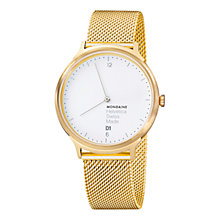 Buy Mondaine MH1L2211SM Unisex Helvetica No 1 Light Watch, Gold/White Online at johnlewis.com