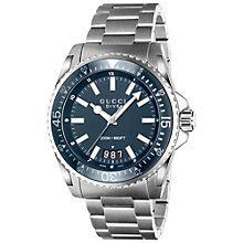 Buy Gucci YA136203 Men's Dive Stainless Steel Bracelet Watch, Silver/Blue Online at johnlewis.com