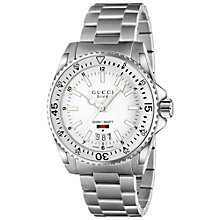 Buy Gucci YA136302 Unisex Dive Stainless Steel Bracelet Watch, Silver/White Online at johnlewis.com