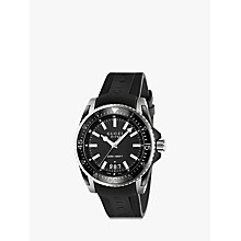 Buy Gucci YA136204 Men's Dive Stainless Steel Rubber Strap Watch, Black Online at johnlewis.com