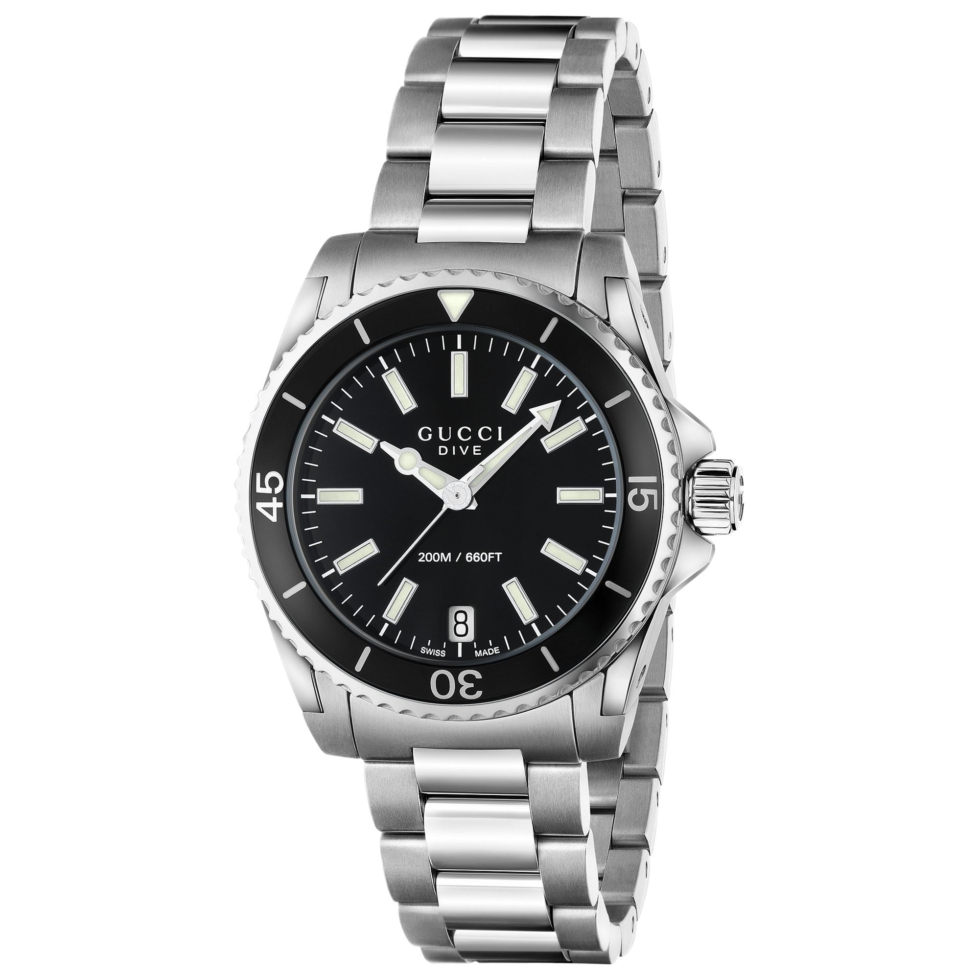 Buy Gucci YA136403 Women's Dive Stainless Steel Bracelet Strap Watch, Silver/Black Online at johnlewis.com
